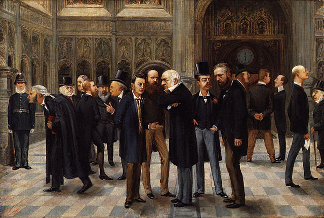 The Lobby of the House of Commons, 1886, by Liborio Prosperi. Published in Vanity Fair, 30 November 1886.