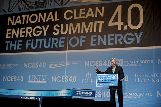 LAS VEGAS (Aug. 30, 2011) Secretary of the Navy (SECNAV) Ray Mabus delivers the keynote address at the National Clean Energy Summit 4.0 in Las Vegas (U.S. Navy photo by Chief Mass Communication Specialist Sam Shavers)