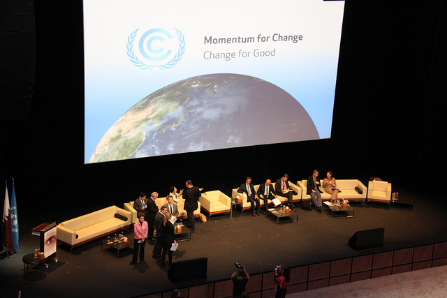 Momentum for Change: Innovative financing for climate friendly investment – Launch event by UNClimateChange used under CC BY 2.0. No changes made.